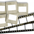 Stock Photo: Vintage blank film stripes and blank old slide photo frames on w