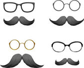 Set of funny masks (mustache and glasses) — Stock Vector