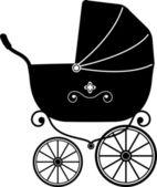 Baby Stroller (Silhouette) — Stock Vector