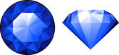 Sapphire from two perspectives over white — Stock Vector
