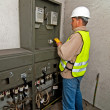 Electrician in switching power — Photo