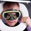 Diver in toilet - Stock Photo