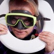 Diver in toilet — Stock Photo