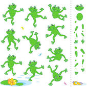 Frogs or toads cartoon characters — Stock Vector