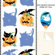Match pictures to their shadows Halloween riddle — Stock Vector #10205833