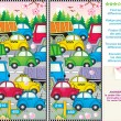 Spring traffic jam find the differences picture puzzle — Stock Vector