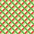 Checked Christmas background, seamless pattern included — Stock Vector