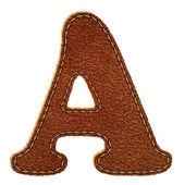 Läder alfabetet. läder texturerat brev en — Stockvektor