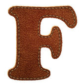 Leather alphabet. Leather textured letter F — Stock Vector