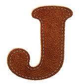 Leather alphabet. Leather textured letter J — Stock Vector