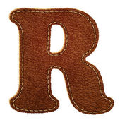 Leather alphabet. Leather textured letter R — Stock Vector