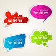 Set of colorful speech bubble paper stickers — Stock Vector