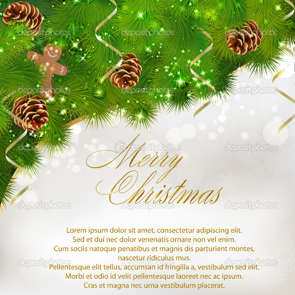 Merry Christmas greeting card. Vector eps10 illustration — Grafika wektorowa #7980890