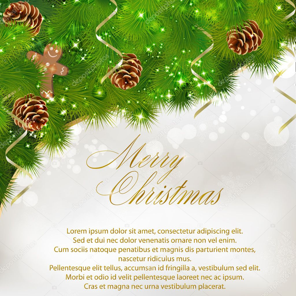 Merry Christmas greeting card. Vector eps10 illustration — Stok Vektör #7980890