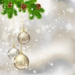 抽象的な背景が明るい灰色でクリスマス ボール — ストックベクタ
