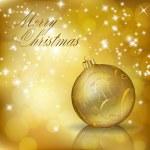 Złoty Wesołych Świąt kartkę z życzeniami — Wektor stockowy