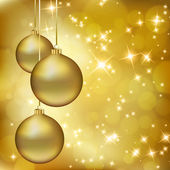 Golden Christmas balls on abstract gold background — Stock Vector