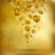 Abstract flying golden hearts - Stock Vector