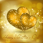 Valentine's day greeting card with two golden hearts — Stock vektor