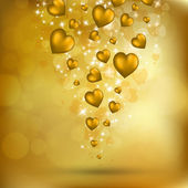 Abstract flying golden hearts — 图库矢量图片