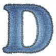 Jeans alphabet. Denim letter D — Stock Vector