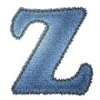 Jeans alphabet. Denim letter Z - Stock Vector