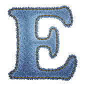 Jeans alphabet. Denim letter E — Stock Vector