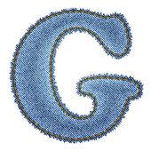 Jeans alphabet. Denim letter G — Stock Vector