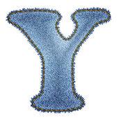 Jeans alphabet. Denim letter Y — ストックベクタ