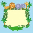 Vector de stock : Cute safari cartoon animals - lion, giraffe, crocodile and eleph