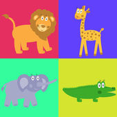 Cute safari cartoon animals set - lion, giraffe, crocodile and e — Stock Vector
