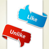 Like and unlike icons. Thumb up and thumb down signs for blogs a — Stock Vector