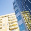 Windows and balconies of modern residential buildings — Stock Photo