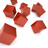 Falling and hitting red cubes on a white background — Stock Photo