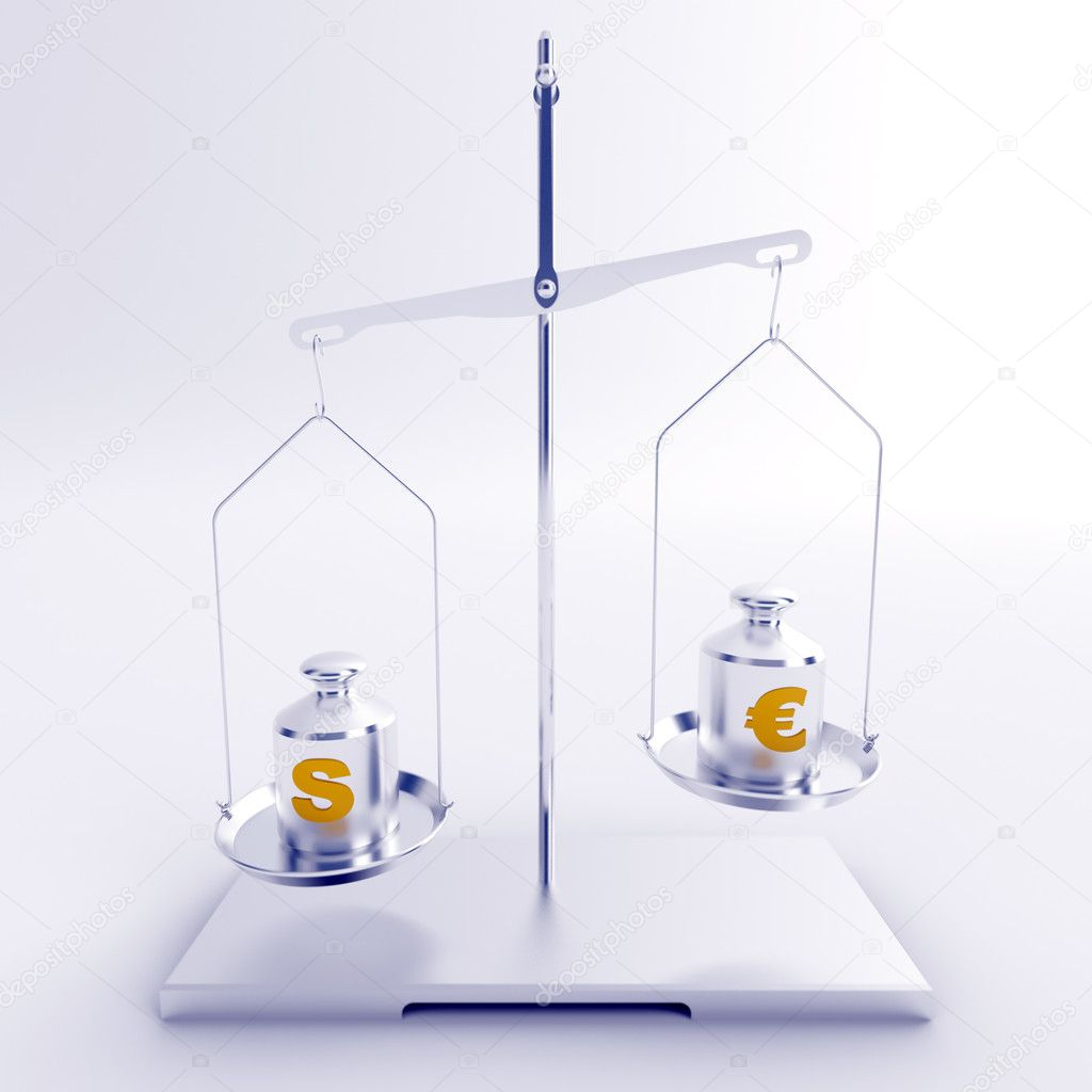 Silver scales with weights with symbols of dollar and euro — Stock Photo #10109736