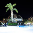 Palm near pool at summer night — Stock Photo