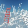 White and red stairs rising in clouds on a background blue sky — Stock Photo #10394845
