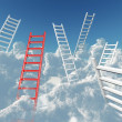 White and red stairs rising in clouds on a background blue sky — Stock Photo