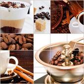 Rostade kaffebönor och redo kaffedrycker — Stockfoto