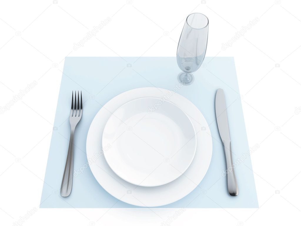 Tableware on a blue napkin and a white background — Stock Photo #8388489