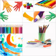 Funny painted hand and pencils - Stock Photo
