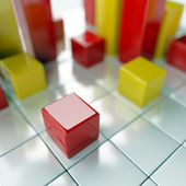 Red and yellow metallic cubes — Stock Photo