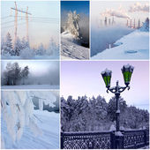 6 beautiful photos on winter — Stock Photo