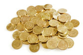 Pile of brilliant metallic coins — Stockfoto