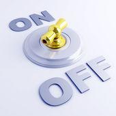 Interruptor de alavanca dourado com sinal de ligar-desligar — Foto Stock