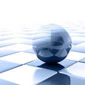 Blue metallic ball with visible wired structure — Stock Photo