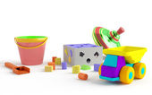 Funny colored children's toys — Stock Photo