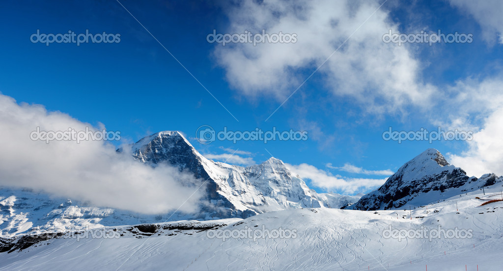 The ski slope. Ski resort of Grindelwald in Switzerland. Bernese Alps.  Stock Photo #8270478