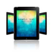 Vector - black tablet pads with a white screen on colorful bokeh and a reflection on a white background. — Stock Vector