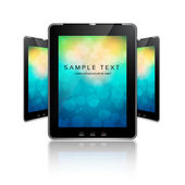Black tablet pads with a white screen on colorful bokeh and a reflection on a white background — Stock Vector